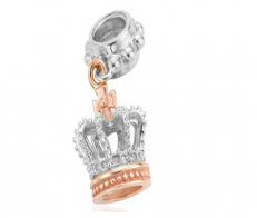 Royal Crown Silver Drop Charm