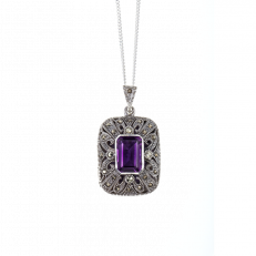 Vintage silver and amethyst locket