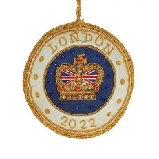 """London 2020 Christmas decoration - royal blue roundel embroidered with a gold crown with union jack and embellished with beads. Champagne satin border trimmed with gold and inscription """"London 2020""""."""