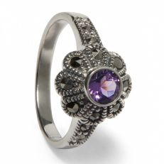Amethyst and marcasite flower ring