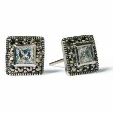 Square marcasite stud earrings