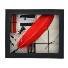 Feather quill set inside of box
