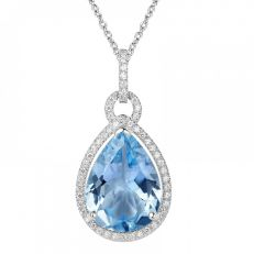 H.Azeem Blue topaz pear drop pendant