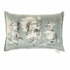 Pagoda watercolour luxury cushion