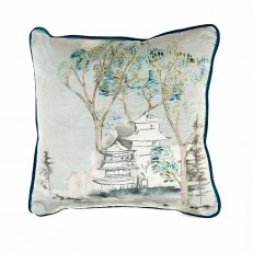 Pagoda watercolour luxury square cushion