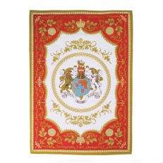 Royal Palace Crest red and gold cotton tea towel