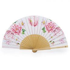Luxury pink folding paper palace rose fan - Floral hand fan