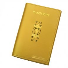 Kensington Palace Gates unicorn gold leather passport holder