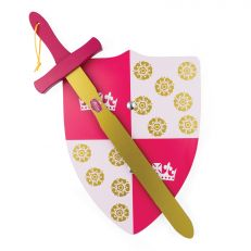 Princess Elizabeth pink & gold painted wooden sword & shield play set