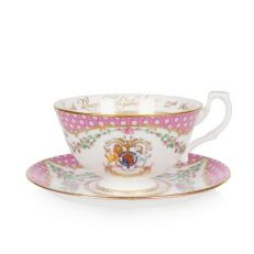 Queen's 95th birthday 2021 official fine bone china commemorative teacup & saucer - pink & gold teacup featuring the royal coat of arms and garlands of pink roses inspired by the Windsor Castle rose gardens