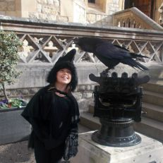 Meeting the Tower of London ravens - Raven costume cape dress up