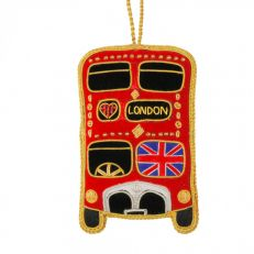 Red 'Love London' tourist bus tree decoration with Union Jack
