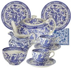Blue regal peacock tea set for two