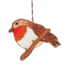 Silk Thread Robin Christmas Decoration
