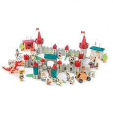 Traditional children's wooden royal castle play set
