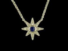 Sapphire Starburst 9ct White Gold Diamond Pendant