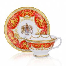 Royal Palace Crest fine bone china red and gold teacup and saucer