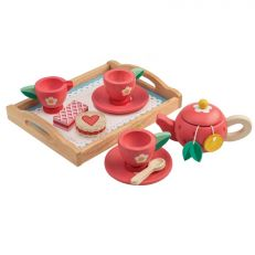 Traditional children's wooden tea tray play set