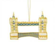 Tower Bridge gold embroidered hanging decoration - London Christmas ornaments