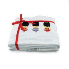 London guardsman ribboned guest hand towel bundle - 100% cotton velour