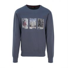 TRIPLE PHOTO MENS SWEATSHIRT GREY - Small