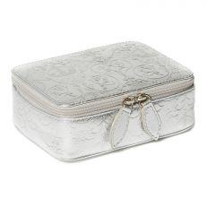 Royal Victoria Silver Metallic Leather Travel Jewellery Box
