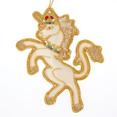 Unicorn tree decoration - rampant heraldic unicorn on champagne satin, trimmed in gold satin and metal threads with crown and collar embellished in red, blue and green.