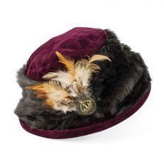 Vintage style faux fur burgundy hat