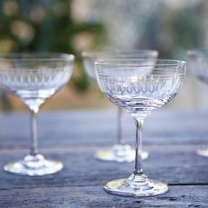 Vintage style engraved champagne saucers with ovals design