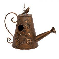 Watering can metal birdhouse garden ornament
