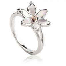 Clogau White Lily Silver Rose Gold Ring