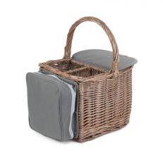 Luxury willow two bottle beach hamper basket
