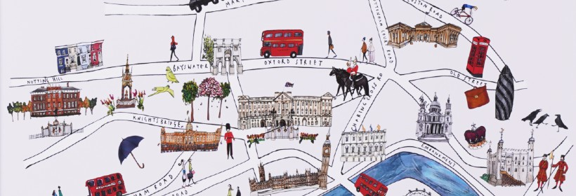 Illustrated London map print by Katie Cardew