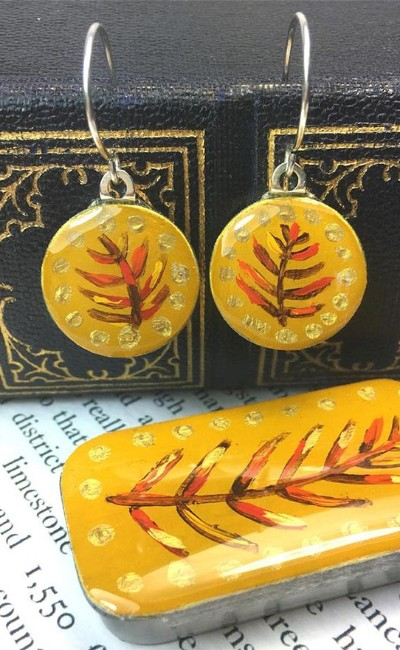 Enamelled sixpence earrings in tiny tin